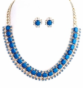 Blue Square Jewel and Multi Crystal Chain Bib Necklace and Earrings Set