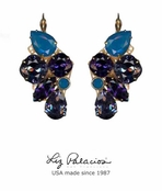 Brillantez Blue Mix Swarovski Crystal Radiance Earrings by Liz Palacios