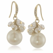 CAROLEE Golden Glow White Cluster Earrings