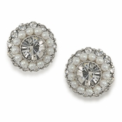 CAROLEE Regal Reflection Pearl Round Button Pierced Earrings