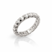 Classic XO Rhodium Plated Sterling Silver CZ Eternity Band Ring