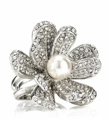 As Seen In All You - Spring Street Crystal Flower & Pearl Ring