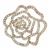 Crystal Rose Gold Plated Rose Pin