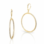 CZ Gold Plated Sterling Silver Inside Out Hoop Leverback Earrings