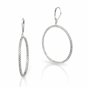 CZ Sterling Silver Inside Out Hoop Leverback Earrings