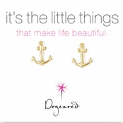 Dogeared Small Anchor Gold Dipped Stud Earrings