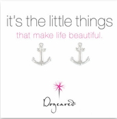Dogeared Small Anchor Sterling Silver Stud Earrings