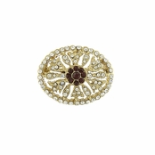 Downton Abbey�  Ruby Jeweled Gold Pave Crystal Brooch