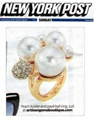 Pearl Cluster and Pave Ball Ring by Spring Street