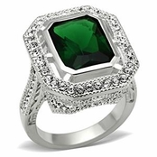 As Seen in OK! Weekly Emerald CZ Solitaire Pave Sterling Silver Ring