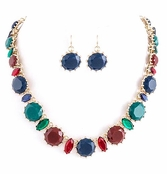 Faceted Round Multi Jewel Necklace and Earrings Set