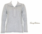 Fossil Grey Aruba Half Zip Sweatshirt by Tommy Bahama