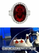As Seen On CBS Atlanta!  Ruby Oval and Pave CZ Solitaire Ring