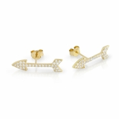 Gold Plated Sterling Silver CZ Arrow Earrings