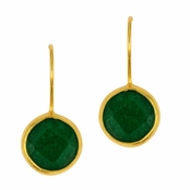 Green Jade Faceted Round Gemstone Yellow Gold Sterling Silver Earrings