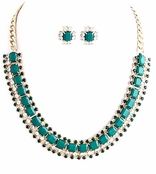 Green Square Jewel and Multi Crystal Chain Bib Necklace and Earrings Set