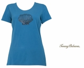 Hazy Teal Presley Multi Beaded Shell Tee Shirt by Tommy Bahama