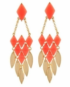 Coral Layered Marquise Statement Earrings