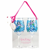 Lilly Pulitzer Acrylic Wine Glasses 16 oz - Nice Tail
