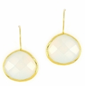 Moonstone Gemstone Yellow Gold Sterling Silver Earrings