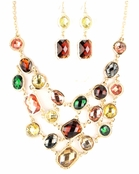Multi Layered Stone V-Drop Bib Necklace and Earirngs Set
