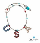 Patriotic Crystal USA Beaded Ankle Bracelet by Toe Brights