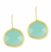 Peruvian Opalite Gemstone Yellow Gold Sterling Silver Earrings