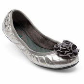 Pewter Patent Quilted Liz Ballet Flats by Lindsay Phillips