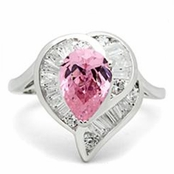 Pink Pear Cut Solitaire Clear Baguette Curved Heart Sterling Silver Ring