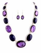 Purple Faceted Oval Jewel Lined Necklace and Earrings Set