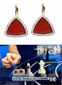 As Seen on CBS Atlanta!  Faceted Triangle Halo Leverback Earrings