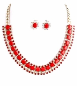 Red Square Jewel and Multi Crystal Chain Bib Necklace and Earrings Set