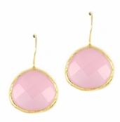 Pink Quartz Gemstone Yellow Gold Sterling Silver Earrings
