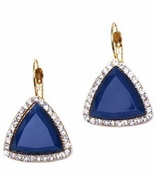 Royal Blue Faceted Triangle Halo Leverback Earrings