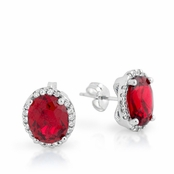 Ruby Oval CZ Halo Sterling Silver Earrings
