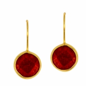 Ruby Quartz Faceted Round Gemstone Yellow Gold Sterling Silver Earrings
