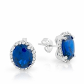Sapphire Oval CZ Halo Sterling Silver Earrings