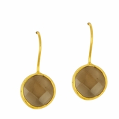 Smokey Quartz Faceted Round Gemstone Yellow Gold Sterling Silver Earrings