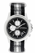 Sperry Top-Sider Men's Halyard Chronograph Stainless Steel Black White Stripe Nylon Band Watch