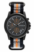 Sperry Top-Sider Men's Halyard Chronograph Gunmetal Black Orange Stripe Nylon Band Watch