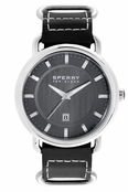 Sperry Top-Sider Men's Striper Black Leather Band Watch