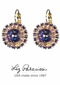 Tesoro Purple Swarovski Crystal Double Row Cushion Earrings by Liz Palacios