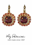 Tesoro Red Swarovski Crystal Double Row Cushion Earrings by Liz Palacios