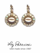 Tesoro Swarovski Crystal and Pearl Shimmer Wire Earrings by Liz Palacios