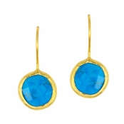 Turquoise Faceted Round Gemstone Yellow Gold Sterling Silver Earrings