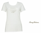 White Presley Multi  Beaded Shell Tee Shirt by Tommy Bahama