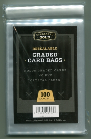 100ct Cardboard Gold Resealable Graded Card Bags
