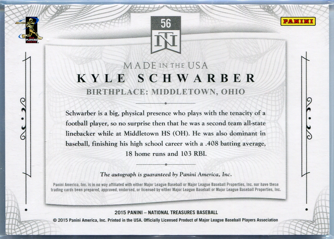 panini national treasures made in the usa kyle schwarber 2015 panini national treasures made in the usa kyle schwarber autograph 56 72