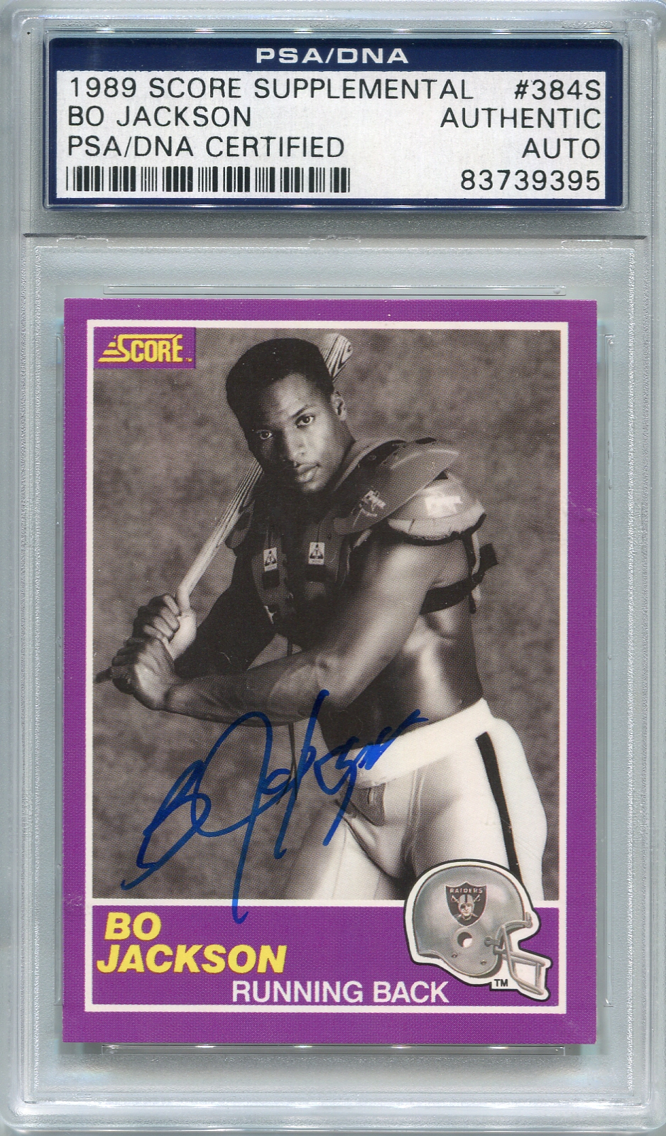 Bo Jackson PSA/DNA Certified Authentic Autograph - 1989 Score Supplemental #384S