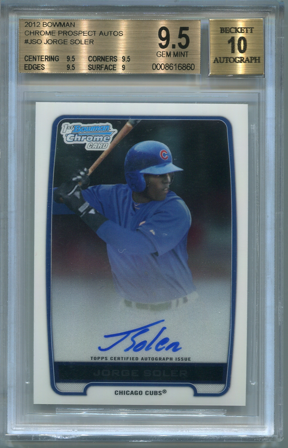 Jorge Soler Rookie BGS Certified Authentic Autograph - 2012 BOwman Chrome Prospect Autos